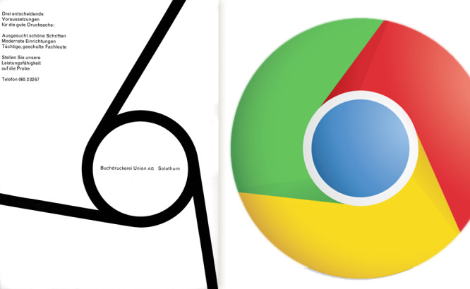 Google Chrome Browser Icon Design Inspired By Vintage Swiss Graphic.